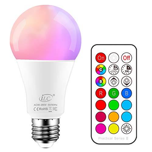 iLC Farbige Leuchtmittel LED RGBW Lampe Dimmbare Farbige Leuchtmitte Lampen 10W E27 Edison RGB LED Birnen - Dual Memory - 12 Farben - Kabellos Fernbedienung inklusive