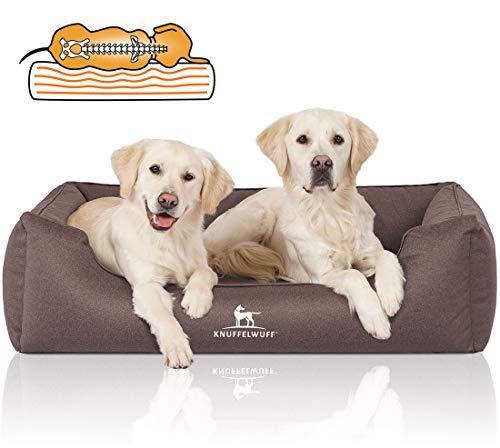 Knuffelwuff Orthopädisches Wasserabweisendes Hundebett Leon XL 105 x 75cm Graubraun