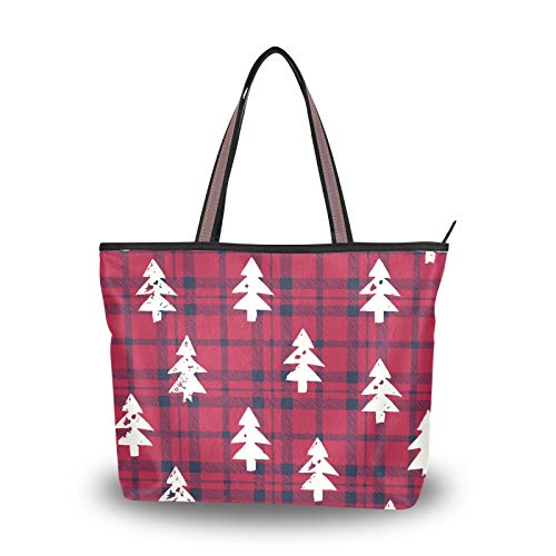 DAOXIANG Bolso de mano de moda para mujer, con asa superior, para viajes, compras, gimnasio, L (árbol de Navidad en cuadros), color, talla Large