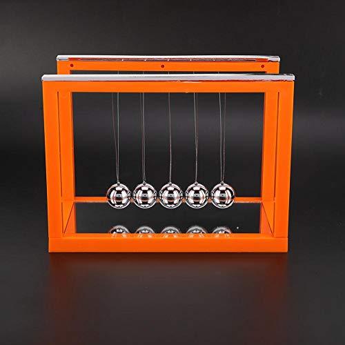 Qioni Newton's Cradle - Cuna de Newton con Equilibrio Balanceo Bolas Equilibrio 5 Bola de Acero Swing Pendulo de Newton Alivio del Estrés para(002 Medium Orange Mirror)