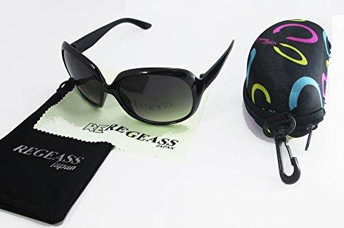 オーバル型 サングラス レディースサングラス 【オリジナルメガネバッグ&メガネ拭き付きセット】 (ブラック)