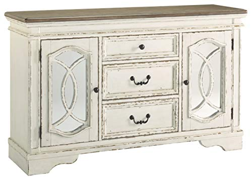 Signature Design by Ashley Realyn Dining Room Server, Chipped White