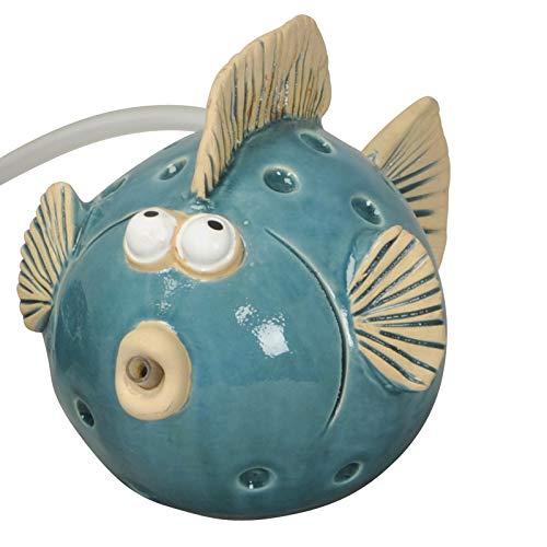 Wasserspeier Fisch blau mit Pumpe