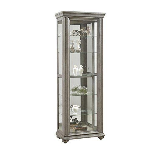 Pulaski Sliding Framed 5 Shelf Curio Grey Cabinet,