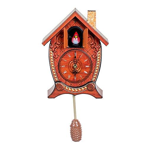 Mark Feldstein & Associates Traditional Chalet Style Singing Cardinal Tabletop Wall Sound Cuckoo Clock
