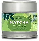 BIO Tè Matcha Cerimoniale Giapponese provenienza Uji Kyoto – Tè Verde Matcha Certificato EU BIOLOGICO del 1 raccolto macinato a pietra – Ideale per la preparazione di un tè squisito 30g