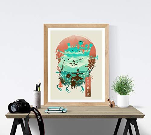 Howl's Moving Castle Art Print - Studio Ghibli Wall Art 18 x 24 Unframed Japanese Anime Artwork Haku Dragon Print Hayao Miyazaki Wall Hanging Cool Movie Home Decor, Calcifer Turnip Head Artwork