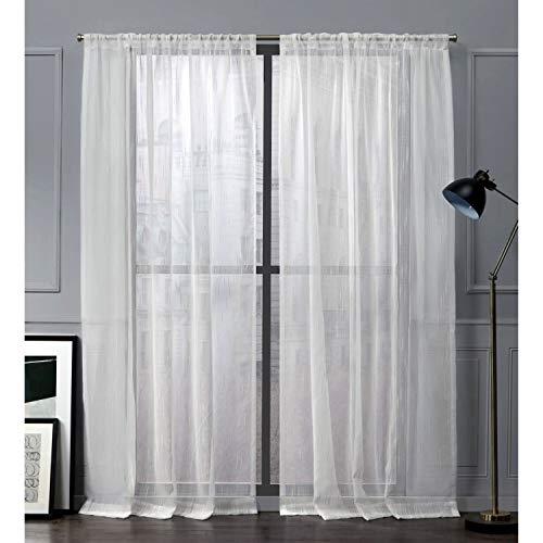 Nicole Miller Wellington Vorhang mit Schlaufen, durchsichtig, Vanille, 137 x 213 cm, 2 Stück