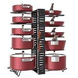 X-cosrack Pot Racks,10 Tier Adjustable Heights with Non-slip feet,6 DIY Methods,Expandable Kitchen Cabinet Pantry Pans and Pots Lid Organizer Rack Holder, Black