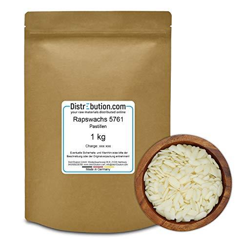DistrEbution.com 1 kg Rapswachs 57-61°C in Pastillen, auf Naturbasis für Kerzen mit Ökowachs, Made in Germany