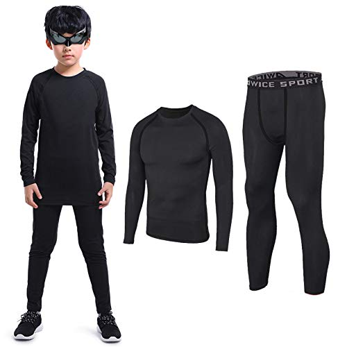 TERODACO Boys Thermal Underwear 2 PCS Athletic Base Layer Kids' Compression Shirts and Leggings Set