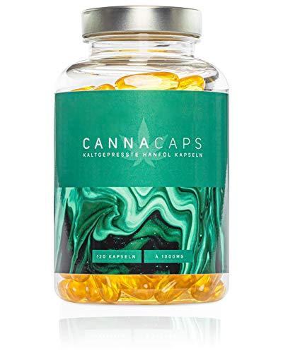 CANNACAPS - 120 kaltgepresste Premium Hanf-Öl Kapseln - Ihre 1000mg Cannabis Sativa für jeden Tag, hochdosiertes Omega 3-6-9 Hanfsamen-Öl, Laborgeprüft - Hergestellt in Deutschland