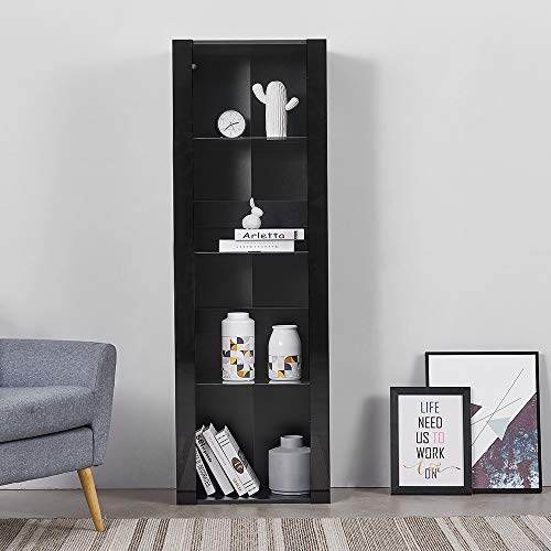 LED Tall Display Cabinet with Glass Shelf,High Gloss Fronts Living Room Cupboard Display Unit Cabinet Sideboard Free Standing Bookcase Storage(Black)