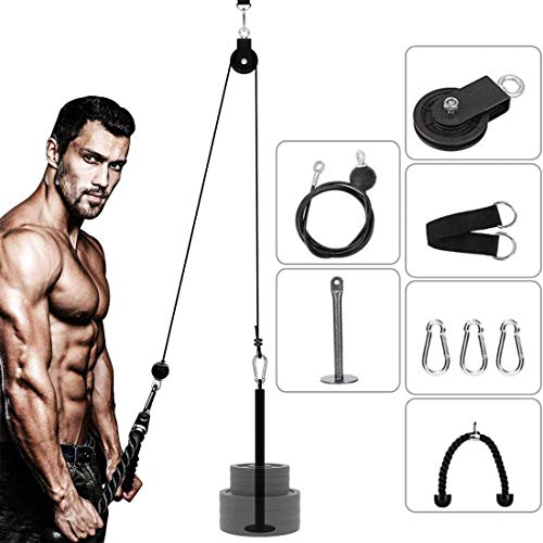 ANMKOT Pulley System Gym, Arm Strength Training Weight Triceps Rope with Loading pin Cable Machine Attachment Pulley System for Home Gym Workout Equipment