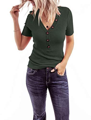 Minthunter Women's Short Sleeve T Shirts V Neck Shirts Ribbed Basic Henley Tops (XX-Large, Green)