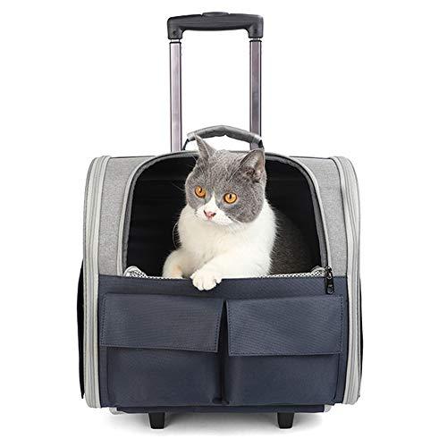 ZWW Mochila Transportador De Mascotas con Ruedas, Maletín Plegable con Ruedas para Gatos Y Asa Telescópica | Bolso De Mano De Viaje Ventilado para Perros Pequeños,Azul