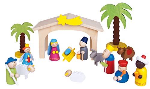 Fritz Cox® Kinderkrippe Weihnachten aus Holz - handbemalte Holz-Kinder-Krippe inkl. Krippenstall in Geschenkverpackung; ideal für Familien mit Kindern (Sternenschnuppe)