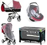 Moustiquaire universelle pour poussette, landau, siège auto, lit de voyage, protection contre les guêpes, moustiques et insectes, lavable pour bébé et bébé