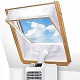 DIGIROOT Fensterabdichtung für Mobile Klimageräte Dachfenster, Klimaanlage Fensterabdichtung Hot Air Stop zum Anbringen an Schwingfenster für max 380cm Fensterumfang, Fensterkitt Set 2x190cm
