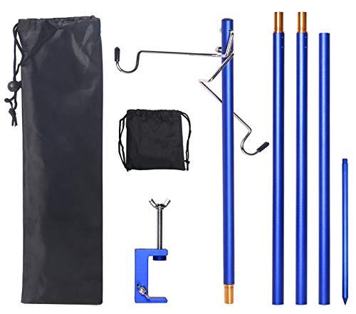 ランタンスタンド ランタンポール クランプ式 打ち込む式両用 2個ランタンハンガー 3段階高さ調整 高強度アルミ製 超軽量 コンパクト 収納袋付き 組立簡単 (ブルー)