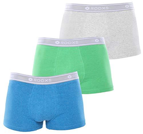 Rooxs Herren Boxershorts (3er Pack) Unterhosen Männer Unterwäsche Slip aus 95% Baumwolle Retroshorts Blau Grün Grau L