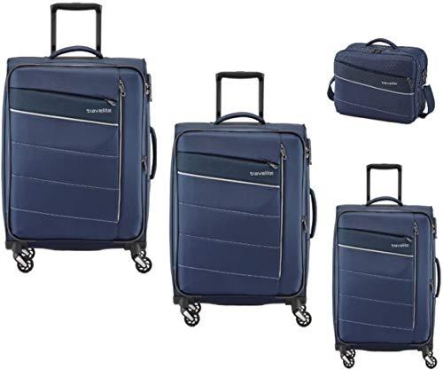 Travelite Kite 4-tlg. Kofferset, 4-RAD L/M erweiterbar/S, Bordtasche, Marine, 89940-20 Juego de Maletas, 75 cm, 242 Liters, Azul (Marine)