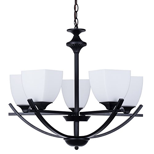 "Alice House 24"" Dining Room Chandeliers, Black Finish, 5 Light Kitchen Light Fixtures with 72"" Chain, Farmhouse Lighting AL12077-H5"