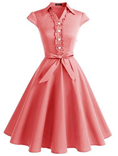 Wedtrend Robe Vintage Rockabilly Rétro Audrey Hepburn 50's 60's Polka Pin Up Swing avec Boutons de cœurWTP10007 Coral M
