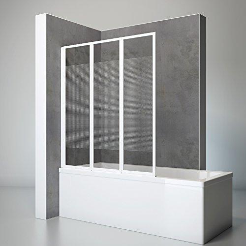 Schulte D1300-F 04 84 Duschwand Well, 127 x 140 cm, 3-teilig faltbar, 3 mm Sicherheitsglas Dekor Quattro, alu-natur, Duschabtrennung für Wanne