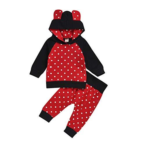 Voberry- Ensemble à Capuche et Pantalon à imprimé bébé Pois à Manches Longues Tops à Capuche imprimé Pois Sweat-Shirts Pantalons Tenues