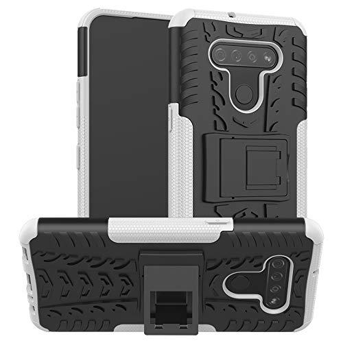 PHONETABLETCASE+ / for Compatible with LG K51 Texture Texture TPU + PC Funda Protectora con Titular,Protección de la Cubierta de la Cubierta a Prueba (Color : Blanco)