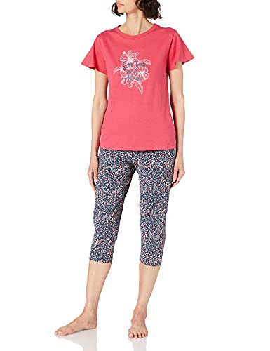 Schiesser Damen Schlafanzug Set 3/4 lange Capri Hose mit passendem kurzen Shirt, Fuchsia, 38