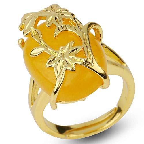 Ringe Offener Damen,Damen Verstellbare Ringe Goldene Blumen Gewickelt Gelbe Jade Naturstein Vergoldet Ring Mode Ewigkeit Freundschaft Schmuck Geschenk Für Mädchen Männer Frauen