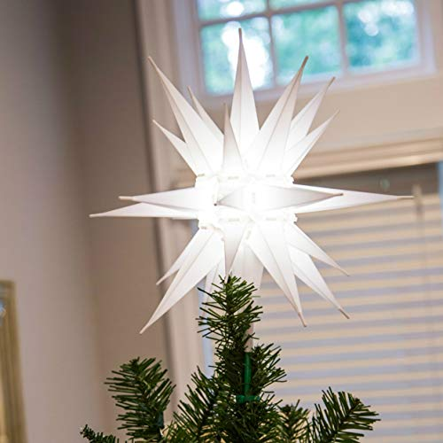 Elf Logic - Moravian Star Tree Topper 12' - Beautiful Bright White 3D Lighted Christmas Star Tree Topper - Advent Star, Bethlehem Star (Assembly Required) (12 Inch, Incandescent)