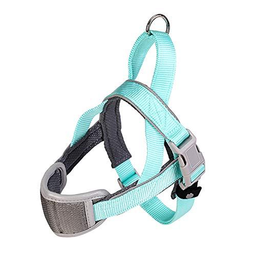 Front Range Hondentuig, Anti-Ontsnapping Geen Trek Hondenvest Borstband Met Reflecterende Strip & Metalen Ring Voor Training/Wandelen,Blue,M