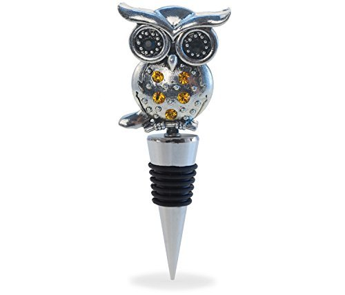 Cheers Reusable Rhinestone Wine Stopper, Elegant Vacuum Seal Inserts Airtight Cork Plug Strong Grip Leak-Proof Beverage Champagne Zinc Bottle Toppers Home Bar Tool & Accessory Gift - 5 Inch (Owl)