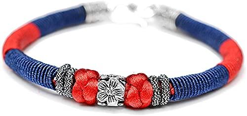 Plztou Feng Shui Pulsera S925 Plum Plum Blossom Pulsera, Pulsera de la Flor de durazno Atrae el Regalo de la Suerte para el Hombre de la Mujer de la Mujer el Mejor Amigo, Azul 15 cm
