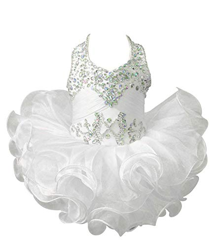 ChengCheng Baby Girls Halter Cupcake National Infant Pageant Dresses 3 US White
