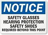 Cartel de estaño para pared de metal, decoración de gafas de seguridad, protección auditiva, zapatos de seguridad, señales de metal, 12 x 16 pulgadas