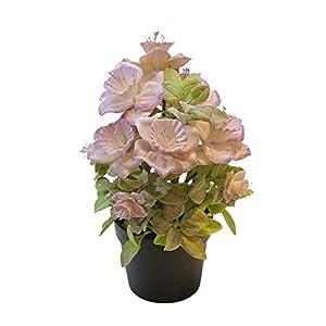Silk Flower Arrangements YuFanKits Artificial Begonia Flower Plant Potted Bonsai Garden Home Table Party Room Decor Fake Plant Material Decor Light Purple