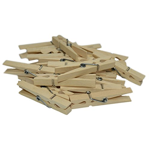 50 Sturm-Wäscheklammern aus Buchen-Holz mit extra-starker Spiralfeder 7,2x1,1cm