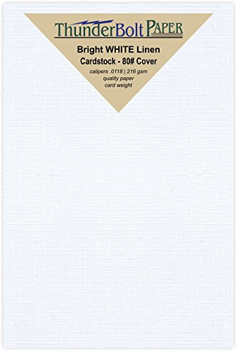100 White Linen 80# Cover Paper Sheets - 4