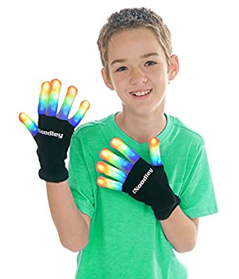The Noodley Flashing LED Finger Light Gloves with Extra Batteries - Kids and Teen Sized Ages 8-12 (Medium, Black) by The Noodley