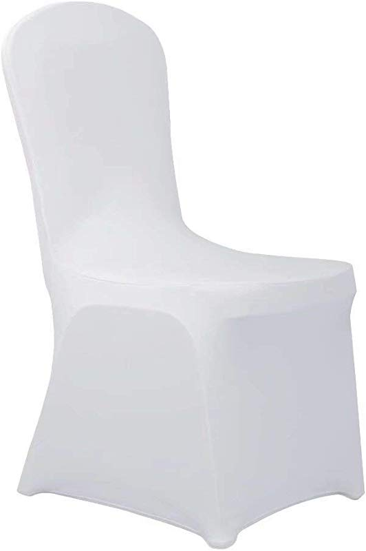 Haorui Spandex Chair Covers For Dining Room Banquet Wedding Party 4 Pcs White
