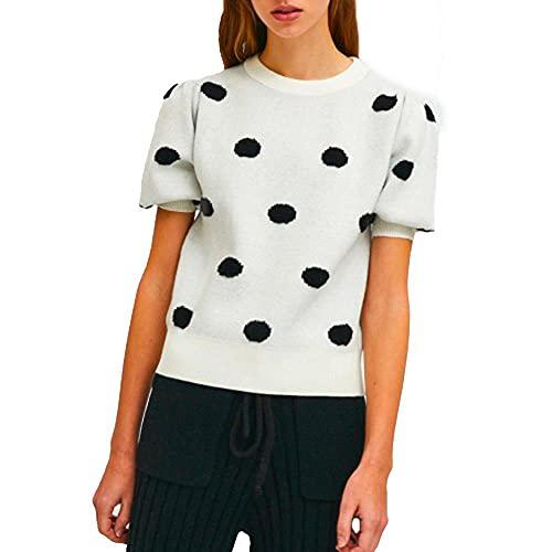COMPANIA FANTASTICA Camiseta de mujer color crema negro FA21ETH05, Negro , M