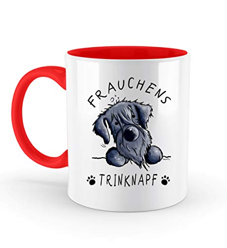 Frauchens Trinknapf Schnauzer Hund Kaffeetasse I Frauchen Hundemama Geschenk I Hundemotiv - Zweifarbige Tasse -330ml-Rubinrot