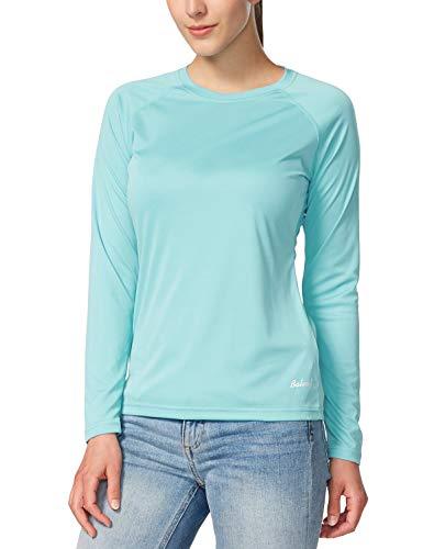BALEAF - Camiseta de manga larga para mujer con factor de protección solar UPF 50+, de secado rápido, ligera, para senderismo, correr, pesca - - Large