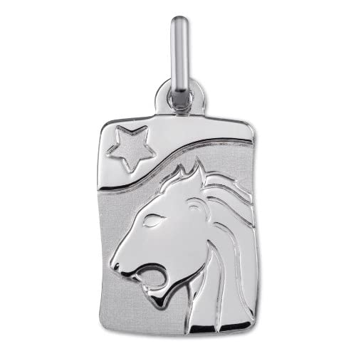 LION-Medaglia Zodiaco argento 925/00, altezza 22 mm-www.diamants-perles.com