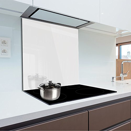 Küchenrückwand aus gehärtetem Glas 60x70 cm Glaspaneel 4 cm Dicke, Farbe: Weiß FMK-01-000