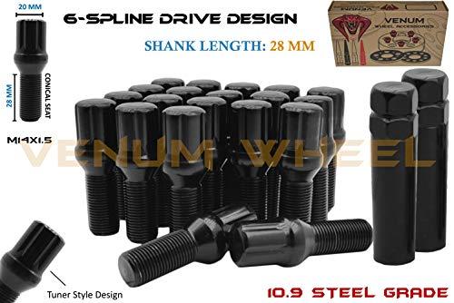 20 12x1.5 M12X1.5 33MM BLACK SPLINE TUNER WHEEL LUG BOLTS